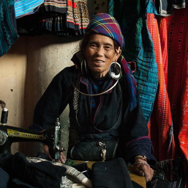 """Seamstress and Clothing Vendor, Sapa, Vietnam"" stock image"