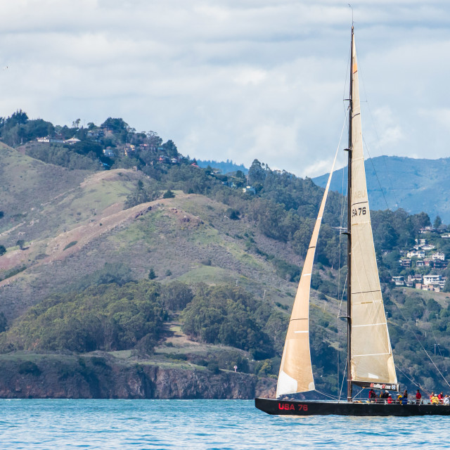 """USA 76 Sailing on San Francisco Bay"" stock image"