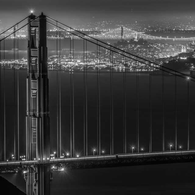 """Golden Gate Bridge at Night, San Francisco Bay."" stock image"