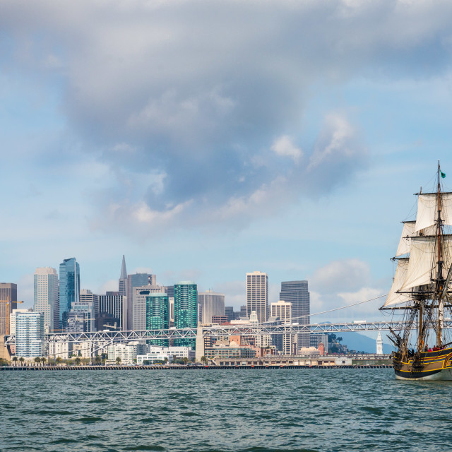 """Lady Washington tall ship on San Francisco Bay"" stock image"
