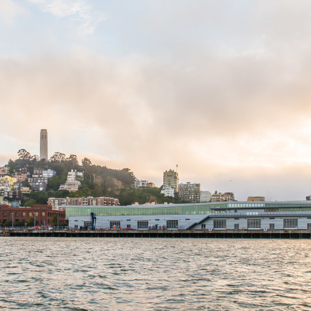 """Coit Tower and Port of San Francisco Cruise Ship Terminal."" stock image"