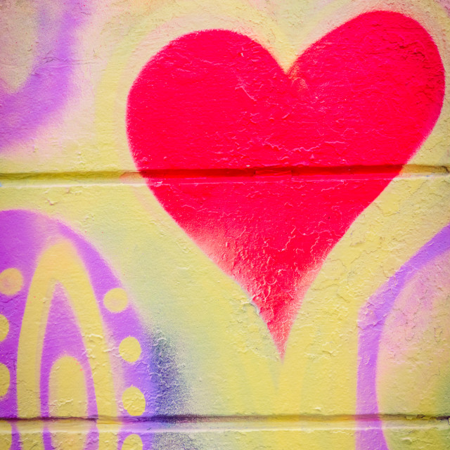 """Grafitti with a heart on a concrete wall"" stock image"