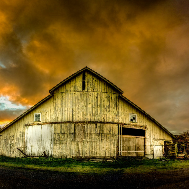 """""""Old Barn, Panoramic Color Image"""" stock image"""