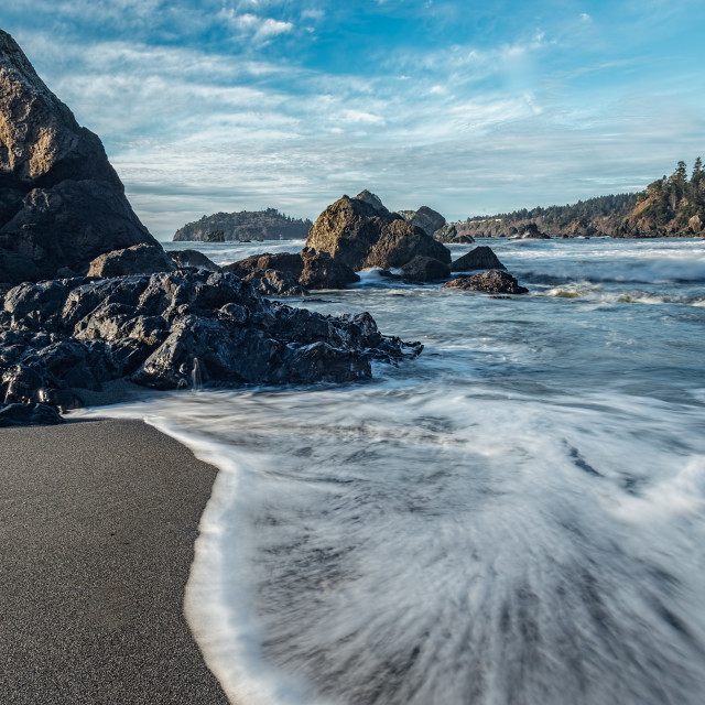 """""""Rocky Pacific Coastline at Sunset"""" stock image"""