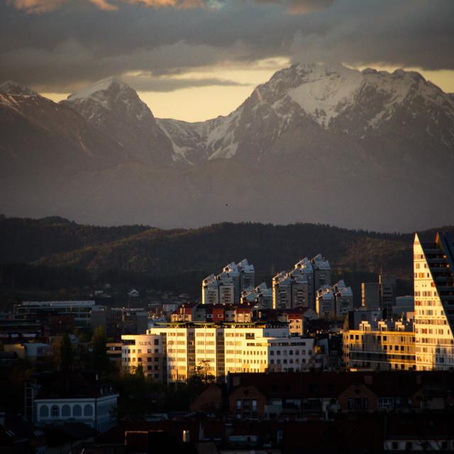 """""""Sunset in Ljubljana facing the Kamnik Alps"""" stock image"""