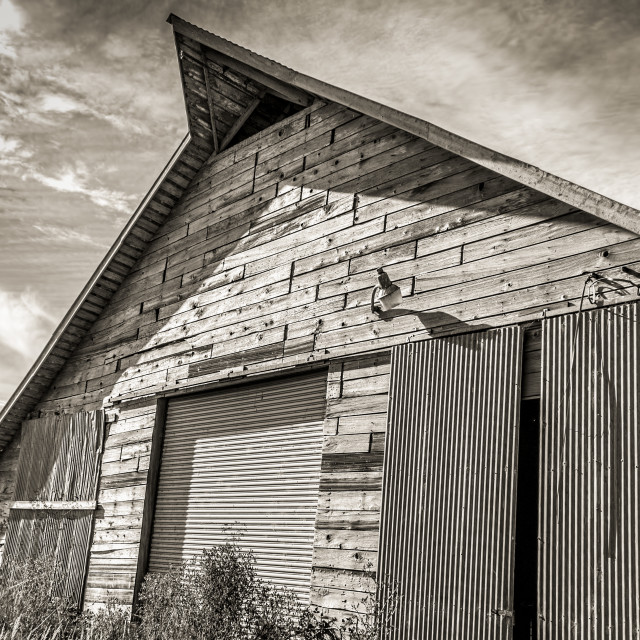 """""""Old Barn, Black and White"""" stock image"""