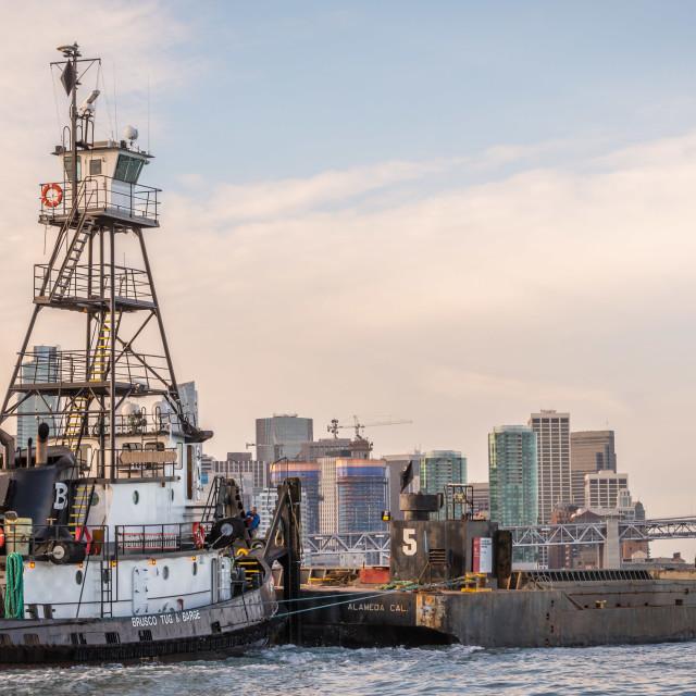 """""""Brusco Tug & Barge San Francisco Bay"""" stock image"""