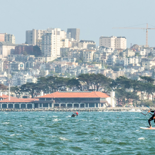 """Foiling Kiteboarder in front of St. Francis Yacht Club, San Francisco."" stock image"
