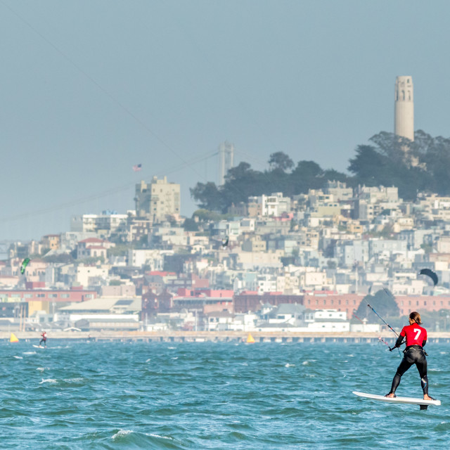 """Foiling Kiteboarder on San Francisco Bay"" stock image"