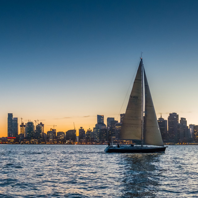 """Sailing on San Francisco Bay at Night"" stock image"