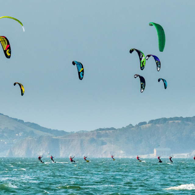 """Foiling Kiteboard Racing on San Francisco Bay"" stock image"