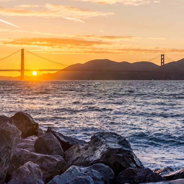 """Golden Gate Bridge Sunset"" stock image"