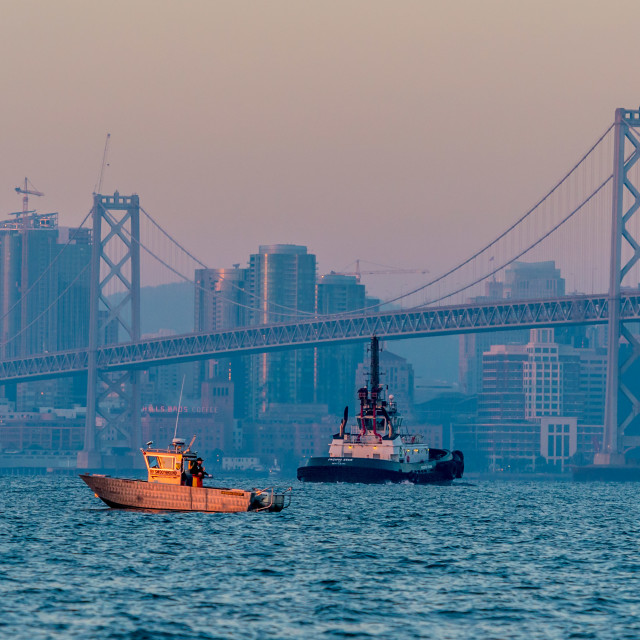 """Sunrise, San Francisco Bay Bridge"" stock image"