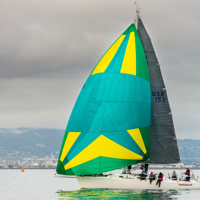 """""""Sailboat racing on San Francisco Bay"""" stock image"""