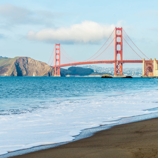 """Golden Gate Bridge, Baker Beach, San Francisco"" stock image"