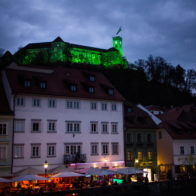 """Ljubljana castle at dusk"" stock image"