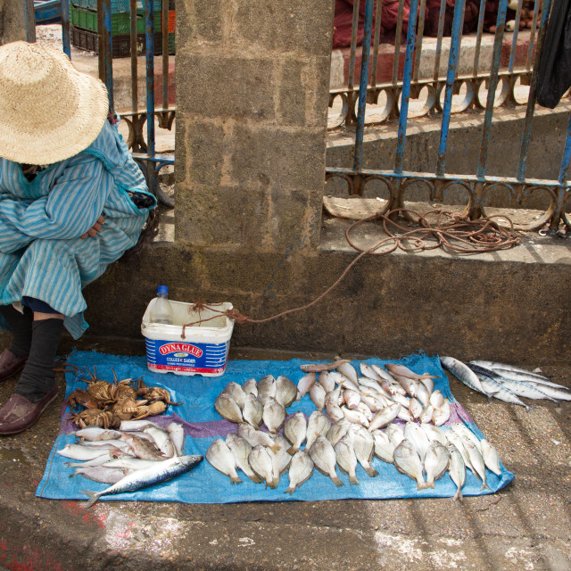 """Woman selling fish, Port of Essaouira, Morroco"" stock image"