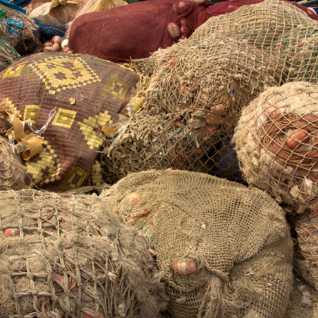 """Sacks of shells, Port of Essaouira, Morocco"" stock image"