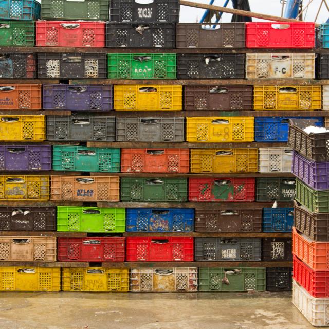 """Crates of fish, port of Essaouira, Morocco"" stock image"