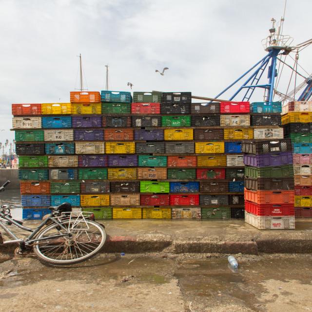 """Crates of Sardines, Port of Essaouira, Morocco"" stock image"