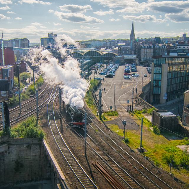 """Flying Scotsman in Newcastle"" stock image"