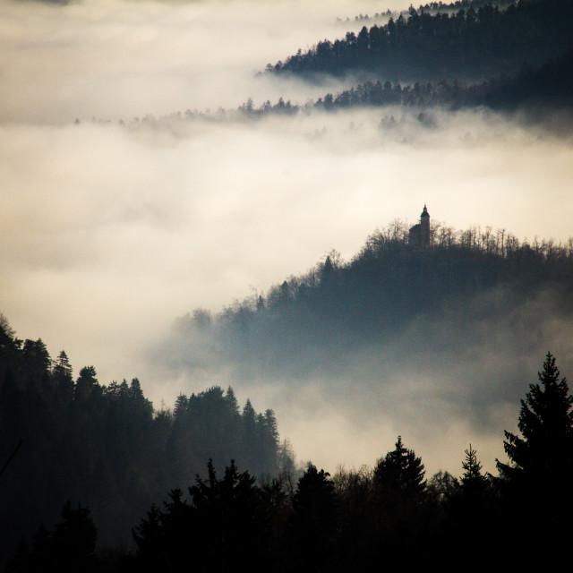 """Misty Hilltop Church, Slovenia"" stock image"