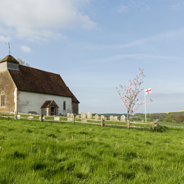 """""""St Mary's, Upwaltham"""" stock image"""
