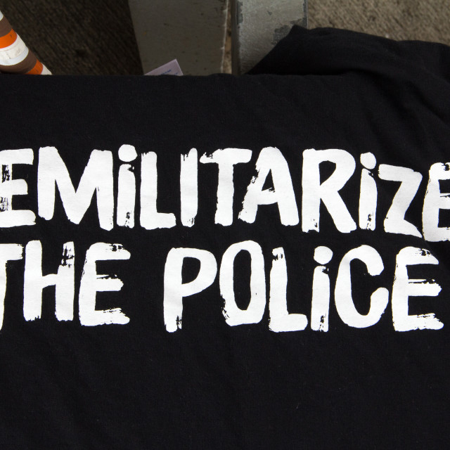 """Demilitarize the Police T-Shirt, Cleveland"" stock image"