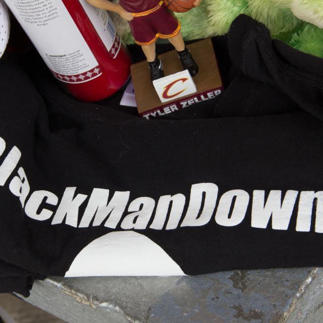 """#BlackManDown T-Shirt, Cleveland"" stock image"