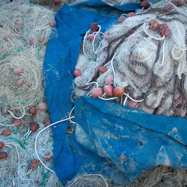 """Fishing Nets, Piran, Slovenia"" stock image"