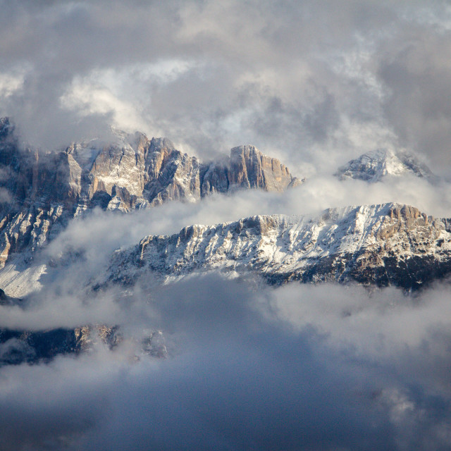 """Dolomites in the Clouds, Falcade"" stock image"