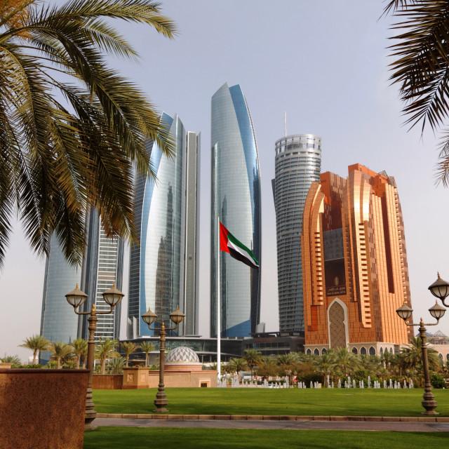"""Abu Dhabi Corniche High Rises"" stock image"