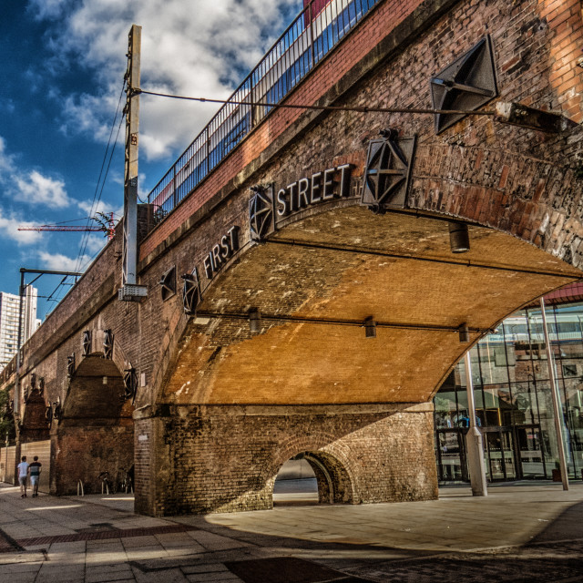 """Manchester First Street Bridge"" stock image"