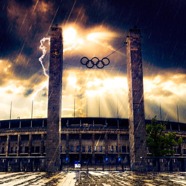 """Thunderstorm at Olympic Stadium Berlin"" stock image"