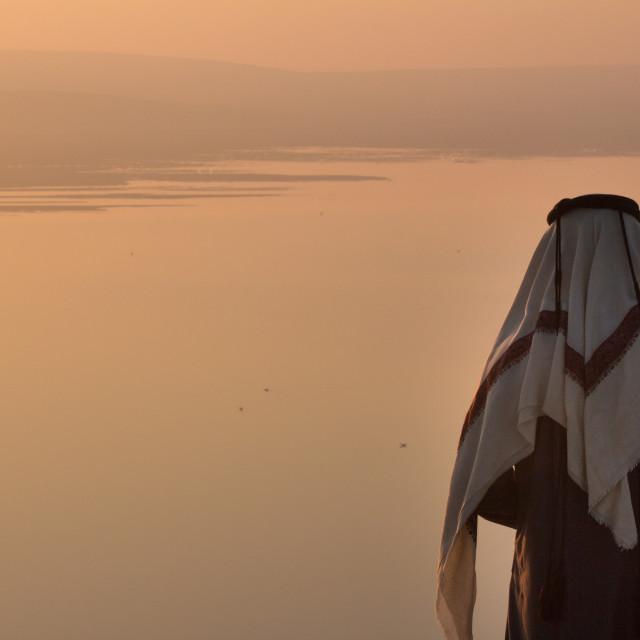 """Man Watching Sunrise, Khor Al Adaid, Inland Sea, Qatar"" stock image"