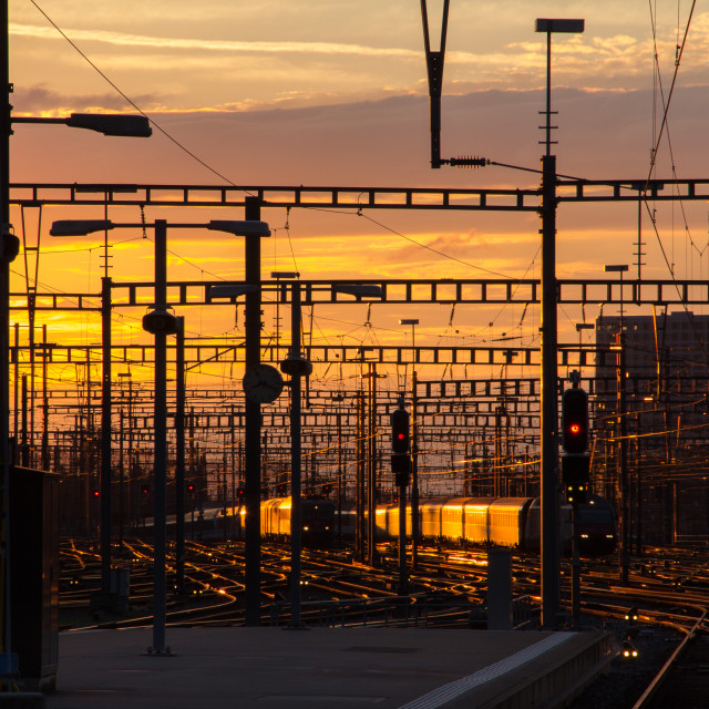 """Sunset, Zurich Train Station"" stock image"