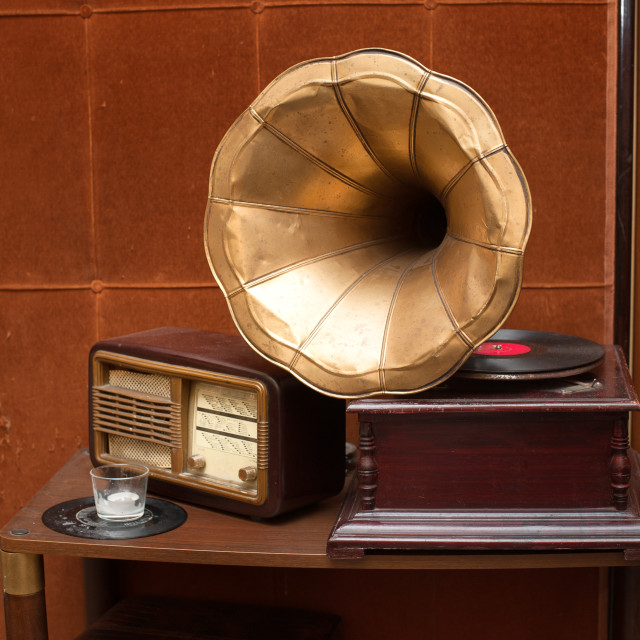 """""""Antique gramophone with golden horn and radio"""" stock image"""