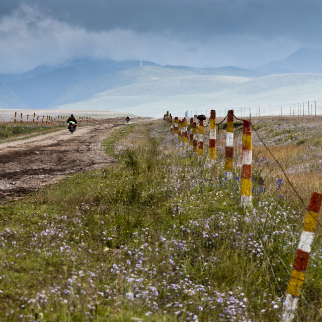 """A road on the grassland in Tibet"" stock image"