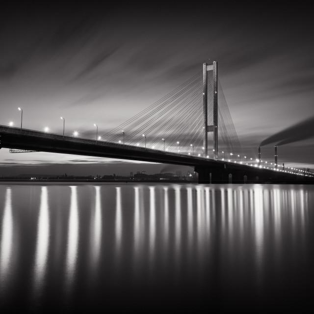 """Blue Hour Bridge b&w"" stock image"