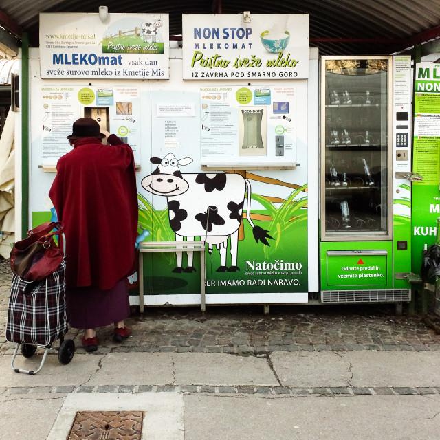 """Woman at a Milk Vending Machine, Ljubljana"" stock image"