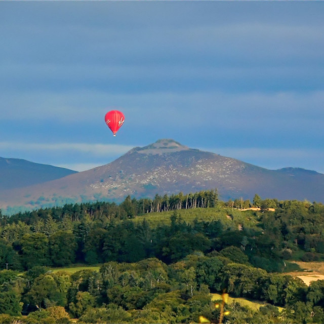 """Virgin balloon over Bennachie"" stock image"
