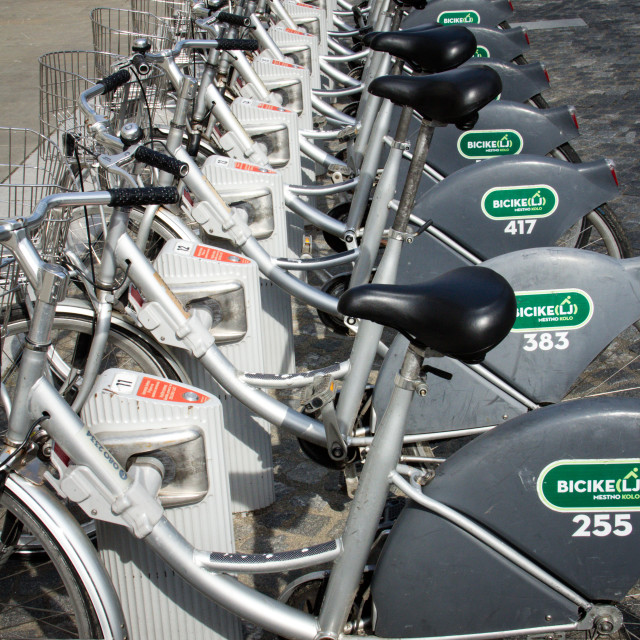 """Bicycle Lending station, Ljubljana"" stock image"