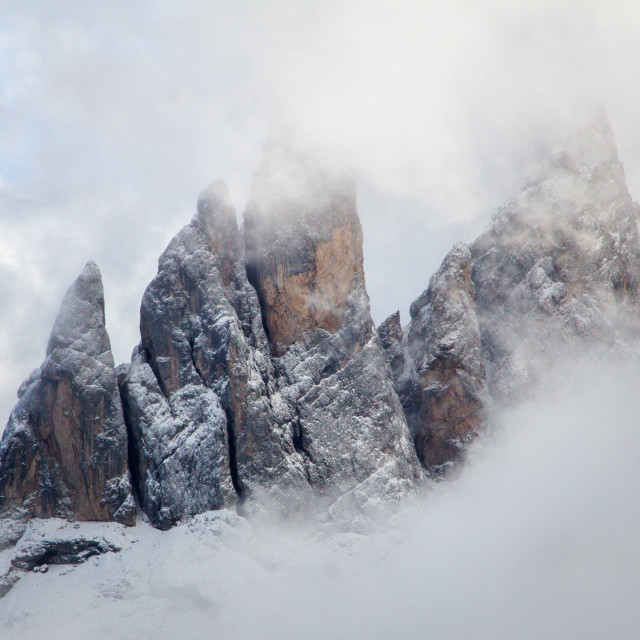 """Mountains in the Clouds, Dolomites"" stock image"
