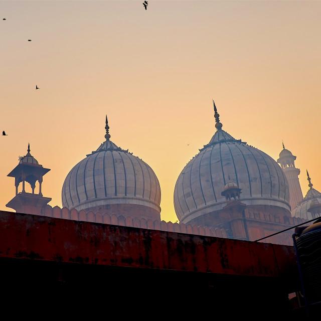 """""""Sunrise at Jama Masjid"""" stock image"""