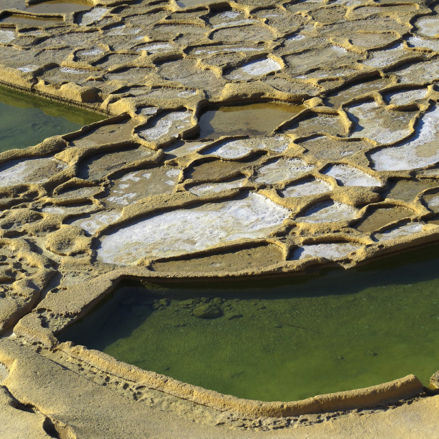 """Salt ponds in Gozo"" stock image"