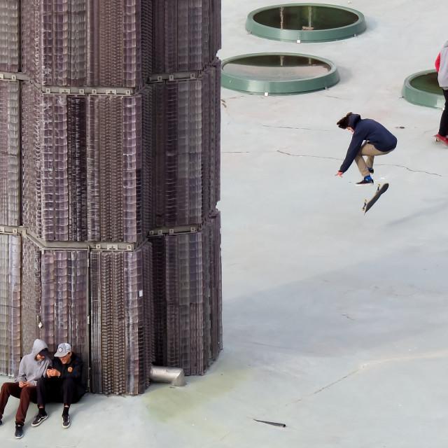 """""""Skateboarders in Stockholm"""" stock image"""