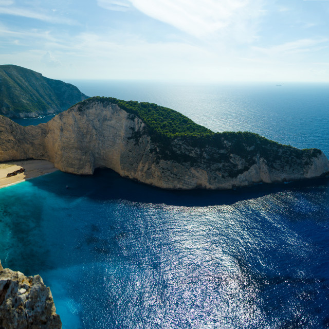 """""""The famous Navagio beach in Zakynthos"""" stock image"""