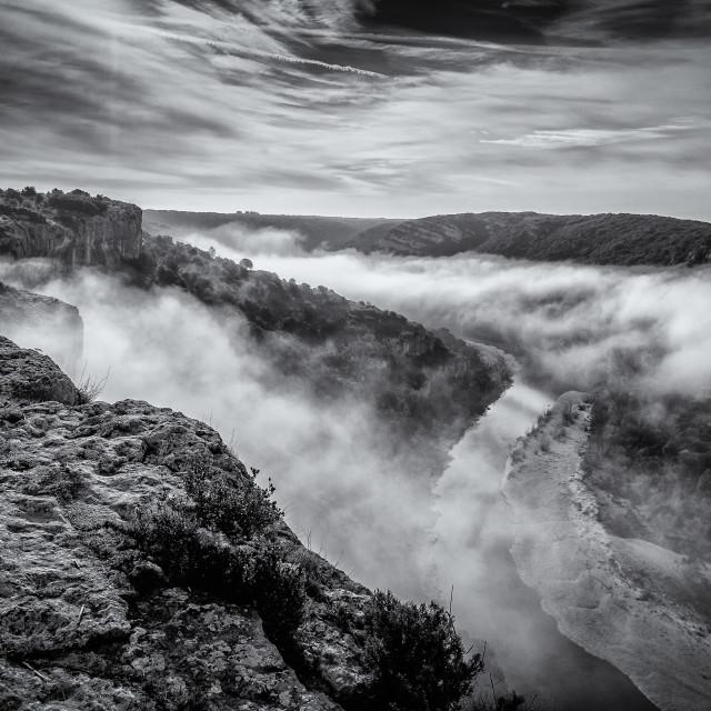 """Mist rises"" stock image"