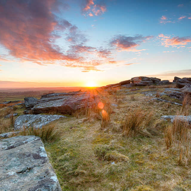 """""""Stunning sunset over slabs of granite rocks at the top of Alex Tor near St..."""" stock image"""