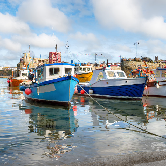 """""""Fishing Boats at Newquay Harbour"""" stock image"""